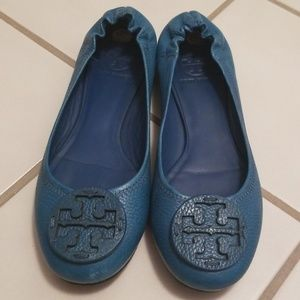 Tory Burch Teal 8.5M Tumbled Leather Reva Flats